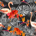 Flamingo, tropical leaves, exotic flowers. Seamless pattern, black background. Watercolor