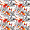 Flamingo, tropical leaves, exotic flowers. Seamlessmonochrome neutral background. Watercolor Royalty Free Stock Photo