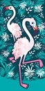 Flamingo with tropical palm leaves. Perfect for wallpapers, web