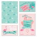 Flamingo wedding invitation cards Royalty Free Stock Photo