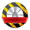 Flammabile material warning sign with symbol Royalty Free Stock Photo