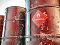 Flammable barrels Royalty Free Stock Photos