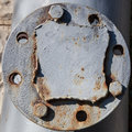 Flange on the old pipeline Royalty Free Stock Photo