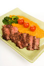 Flank Steak with mashed sweet potato Stock Photos