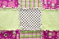 Flannel patchwork quilt close up of a Stock Photos