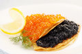 Flapjack with caviar Stock Photo