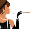 Flapper with cigarette and other accessories Stock Images