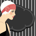 Flapper girls set: retro party invitation design in 20's style Royalty Free Stock Photography