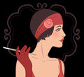 Flapper girls set: retro party invitation design in 20's style Royalty Free Stock Photo