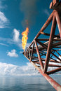 Flare boom structure at oil or gas platform offshore a typical steel seen outside the coast excess hydrocarbon is dissipated to Royalty Free Stock Images