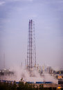 Flare stack at oil refinery Royalty Free Stock Photo