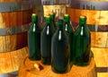 Flaschen Wein auf Fässern Lizenzfreies Stockbild
