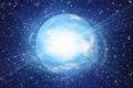 Flash bianco del pianeta della terra dello spazio negli ambiti di provenienza del cielo dell universo Fotografie Stock Libere da Diritti