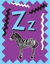 Flash Card Letter Z nouns Royalty Free Stock Photo