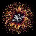 Festive New Year`s salute. A flash of fireworks on a dark background. A bright burst of festive lights. Congratulation. Royalty Free Stock Photo