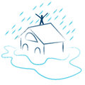 Flash flood emergency an image of a residential Royalty Free Stock Image