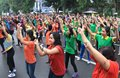 Flash mob thousand of people doing in solo central java indonesia Stock Photos