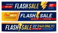 Flash sale banners. Lightning offer sales, only now deals and discount offers lightnings banner layout vector Royalty Free Stock Photo