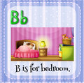 Flashcard letter B is for bedroom Royalty Free Stock Photo