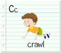 Flashcard letter C is for crawl