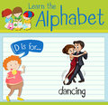 Flashcard letter D is for dancing