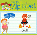 Flashcard letter D is for devil Royalty Free Stock Photo