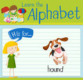 Flashcard letter H is for hound