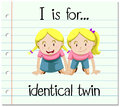 Flashcard letter I is for identical twin Royalty Free Stock Photo