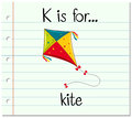 Flashcard letter K is for kite Royalty Free Stock Photo