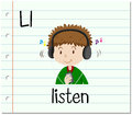 Flashcard letter L is for listen Royalty Free Stock Photo