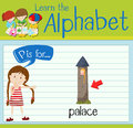 Flashcard letter P is for palace