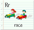 Flashcard letter R is for race