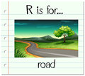 Flashcard letter R is for road