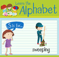 Flashcard letter S is for sweeping