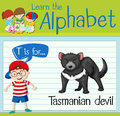 Flashcard letter T is for tasmanian devil Royalty Free Stock Photo