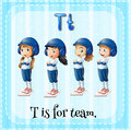 Flashcard letter T is for team Royalty Free Stock Photo