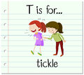 Flashcard letter t is for tickle illustration Stock Image