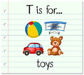 Flashcard letter T is for toys Royalty Free Stock Photo