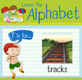 Flashcard letter T is for tracks