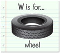 Flashcard letter W is for wheel