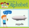 Flashcard letter Z is for zeppelin
