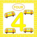 Flashcard number 4 four, bus, transport. Educational card for children Royalty Free Stock Photo