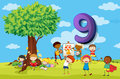 Flashcard number 9 with nine children in the park Royalty Free Stock Photo