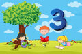 Flashcard number 3 with three children in the park Royalty Free Stock Photo