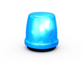 Flashing light blue and glowing emergency police signal for attention isolated on white background Royalty Free Stock Photos