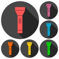 Flashlight Icons set with long shadow