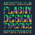 Flashy design typeface. Rainbow blended color font. Isolated colorful english alphabet