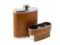 Flask the brown is photographed on the white background Royalty Free Stock Image