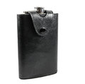 Flask made of leather and stainless steel Stock Photography