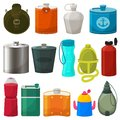 Flask vector metal bottled hip drink thermo and fitness sport plastic bottle illustration set of bottling stainless Royalty Free Stock Photo